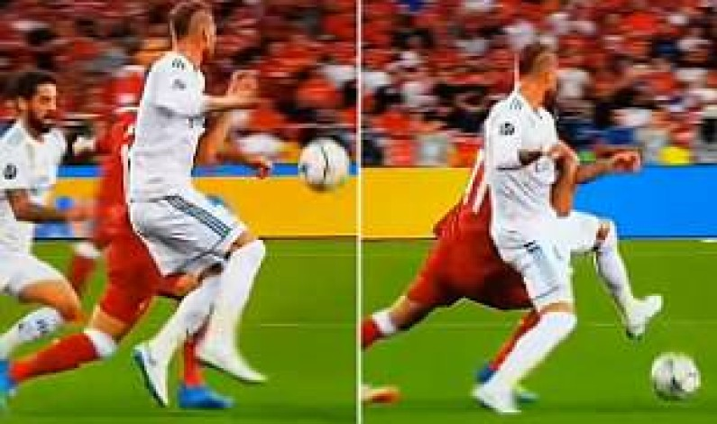 New angle of footage suggests Mohamed Salah was the one who locked arms with Sergio Ramos before suffering shoulder injury in Champions League final