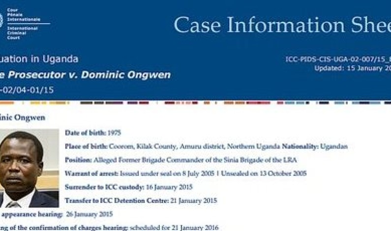 ICC official confirms pre-trial for Dominic Ongwen kicks off tomorrow in the Hague