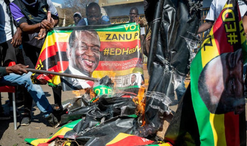 Zimbabwe election results rejected by opposition officials as they storm stage