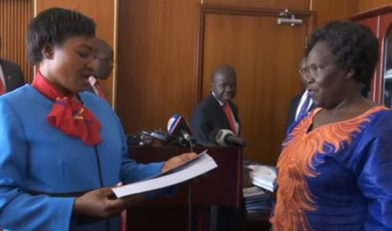 Winnie Kiiza officially hands over office to new Leader of Opposition