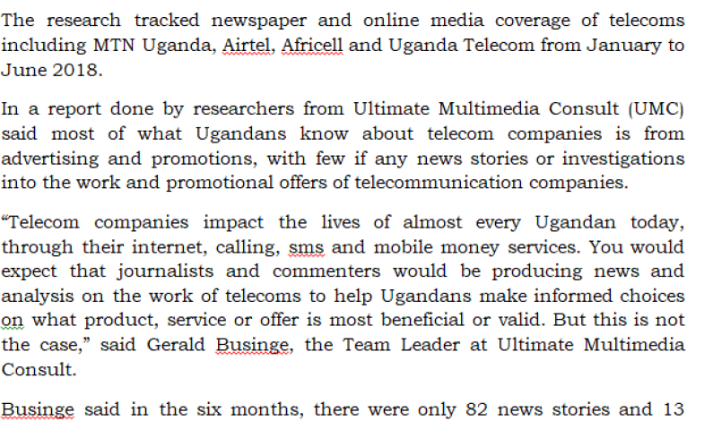 NEWS RELEASE: Communication Of Telecoms In Uganda
