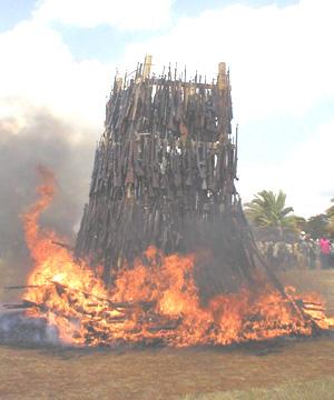 Burning fire Arms in Uganda